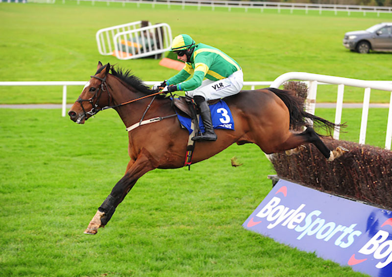 CIANKYLE and Paddy Kennedy jump the last to win The Brewin Dolphin Handicap Steeplechase